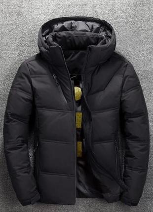 Мужская зимняя куртка пуховик с термоподкладкой, чёрная