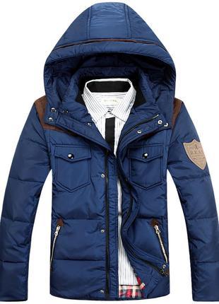 Мужской зимний пуховик куртка jeep, синий