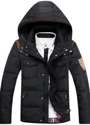 Мужской зимний пуховик куртка jeep, чёрный