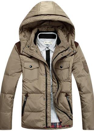 Мужской зимний пуховик куртка jeep, бежевый