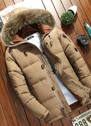 Мужской зимний пуховик куртка jeep с опушкой, бежевый