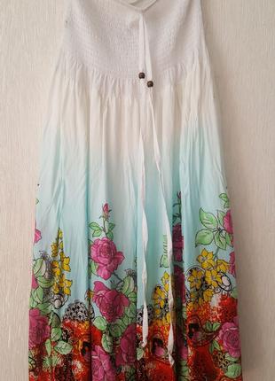 Легкая летняя юбка цветы градиент с широкой резинкой