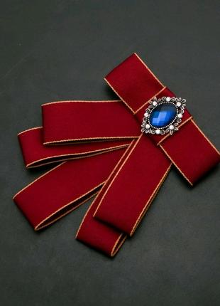 Брошь-галстук из бордовых лент