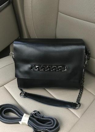 Кожаная сумка. черная сумочка с натуральной кожи