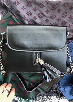 Черная кожаная сумка. клатч