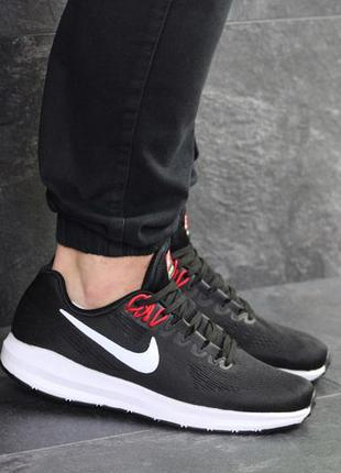 Мужские кроссовки nike air zoom structure (черно/белые)