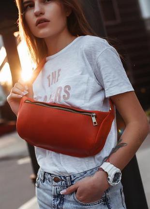Сумка бананка красная кожа. плечевая сумка, сумка поясная моде...