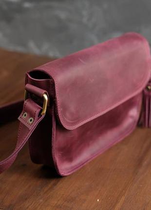 Бордовая женская сумка кросс боди из натуральной винтажной кожи