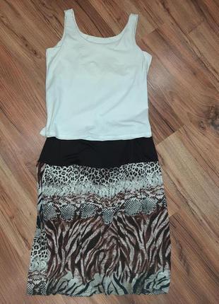 Леопардовая летняя трикотажная юбка Marks & Spencer, L