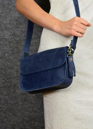 Женская кожаная сумка кросс боди из винтажной кожи, синий цвет