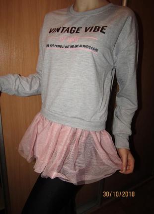 Свитер туника кофта с фатиновой юбочкой для девочек,110-160, Венг