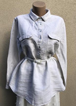 Серебристая,лён блуза,рубашка, большой размер,батал