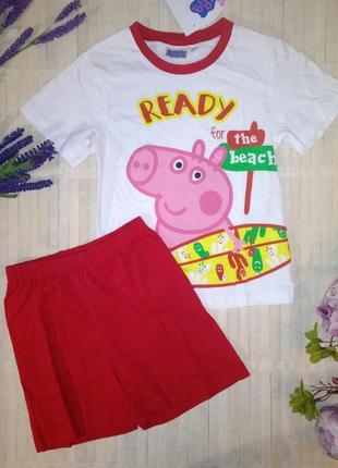 Пижама хлопковая костюм с шортами свинка пеппа peppa pig 6 и 8...