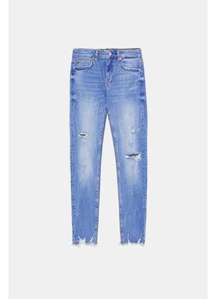 Zara zw премиум джинсы скинни с необработанным краем