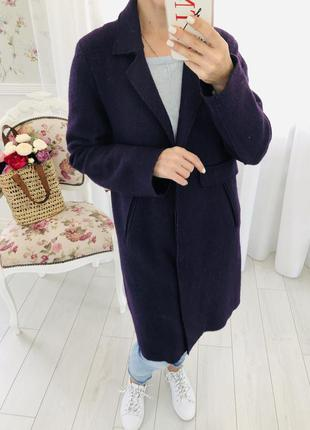Шерстяное пальто кокон оверсайз пурпурного цвета индиго