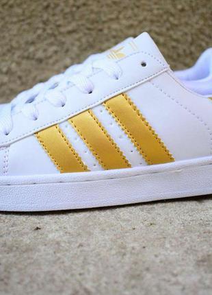 Женские кроссовки Superstar белые с золотом 2036