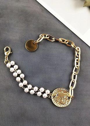 🌺🌺🌺трендовый многослойный браслет с монетой и жемчугом🍀🍀🍀