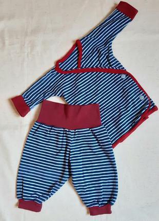 Комплект сине бордо в полоску штанишки и кофточка на 3-6 месяцев