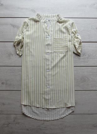 Удлиненная шифоновая рубашка в полоску с коротким рукавом