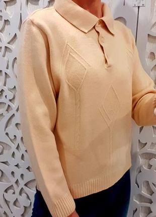 Новый женский свитер s/m из мериносовой шерсти шампань с ворот...