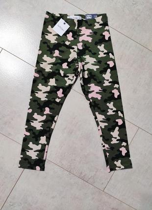 Классные лосины на девочку, военная расцветка, камуфляжные лосины