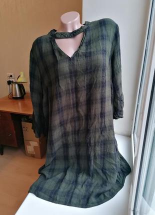 Платье в клетку рукава клеш батал большой размер f&f (к077)