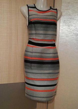 Стильное фактурное качественное платье в полоску нитью с замком
