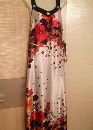 Женственное очень красивое лёгкое платье макси в пол с цветами...