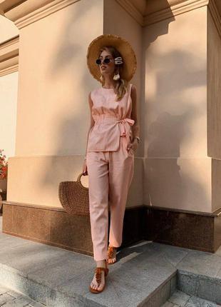 Жіночий лляний костюм двійка штани брюки блуза блузка з баскою