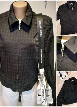 Лёгкий стильный черный пиджак жакет куртка ветровка