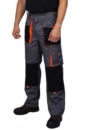 Брюки рабочие Феникс, цвет серо-черный с оранжевой отделкой