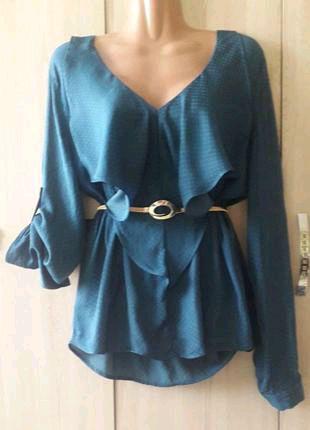 Шикарная блуза цвет морской волны