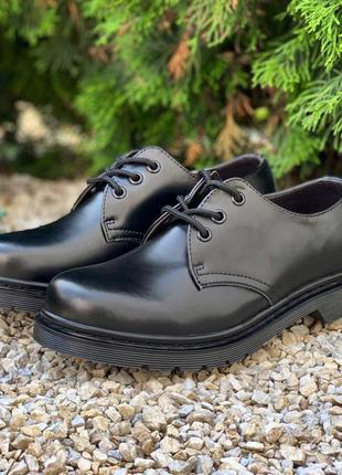 👟 туфли мужские dr. martens 1461 mono black / наложенный платё...