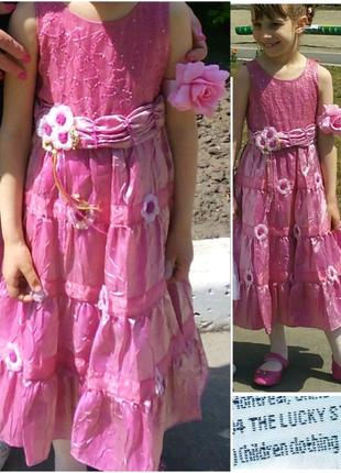 Детское нарядное платье из шелка и органзы /выпускное платье