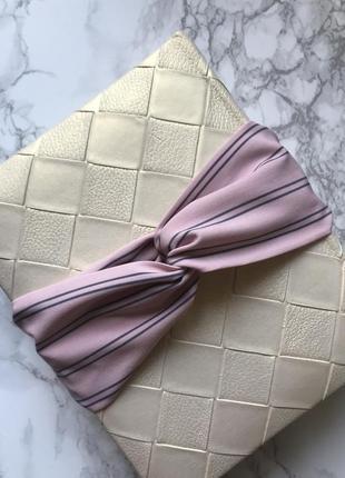 Детская розовая повязка на голову/для волос/тюрбан в полоску