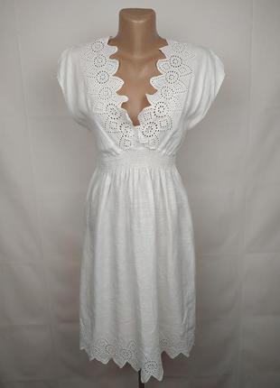 Платье белое льняное красивое вышивка батистовка uk 10-12/m