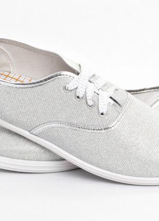 Мокасины кеды балетки на шнуровке 40 р - 26 см стелька серебро