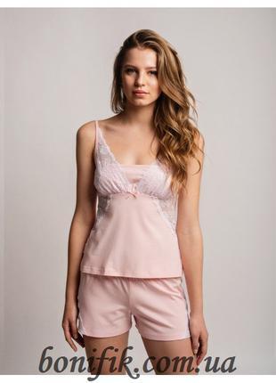 Персиковый комплект пижамы (шорты+майка) (размер XL) LNP 256/002