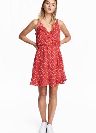 Платье стильное красное в белый горошек на запах