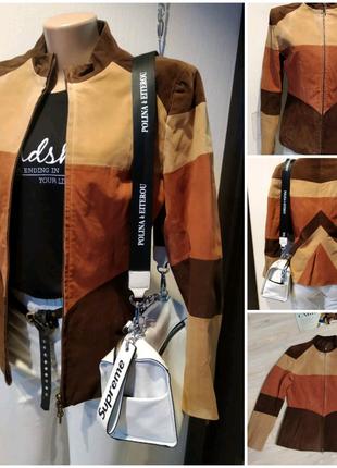 Натуральный замш стильная куртка пиджак жакет блейзер