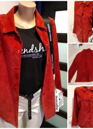Натуральный замш стильная красная рубашка пиджак жакет блейзер