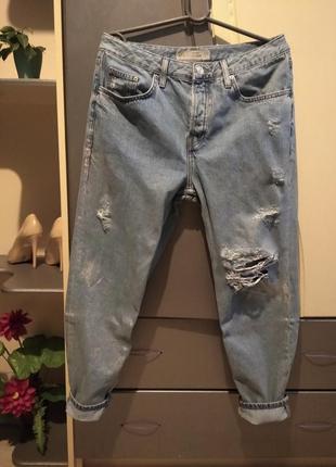 Мом джинсы с серебряным напылением