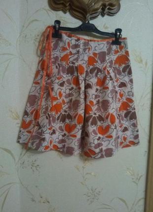 Юбка в оранжевых цветах       ручная работа