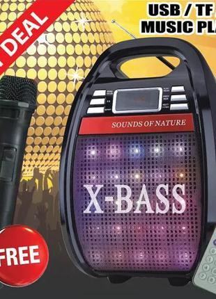 Беспроводная портативна колонка с микрофоном усилитель блютуз ...