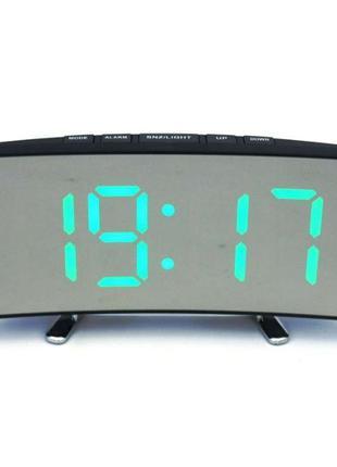 Настольные часы зеркало LED подсветка будильник годинник