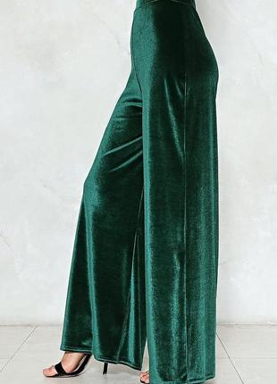 Велюровые бархатные брюки-штаны палаццо😍 изумрудного цвета