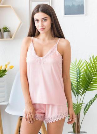 Mito melisa 1352 женская шелковая пижама пудра с кружевом майк...