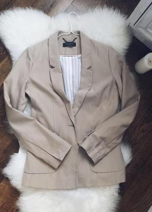 Пиджак бежевый/жакет полосатый/ осенний/ костюм / удлинённый