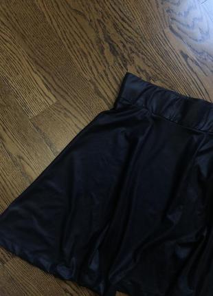 Юбка солнце чёрная школьна форма под кожу