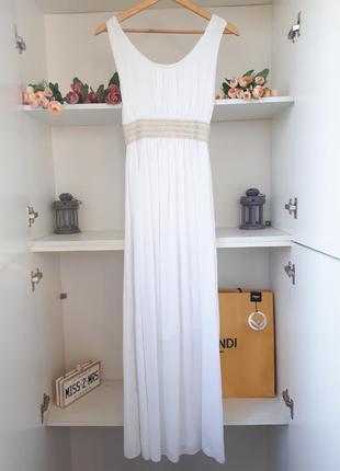 Белое длинное платье в пол из хлопка